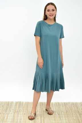 Cotton Mood 9303044 Süprem Eteği Pliseli Kısa Kol Elbise Cagla Yesıl 3