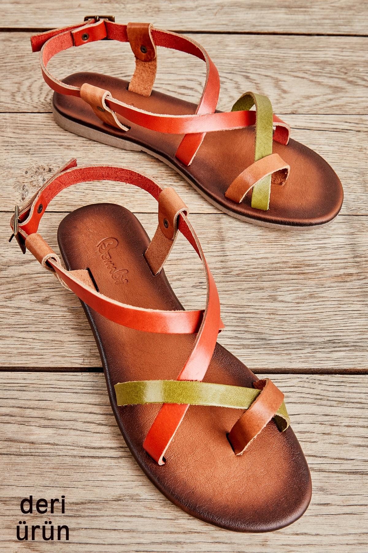 Hakiki Deri Taba Çok Renkli Kadın Sandalet K05685162203