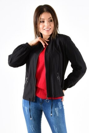 ModaPlaza Kadın Fermuarlı Altı Bağcıklı Siyah Spor Ceket 7210 0