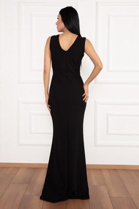 PULLIMM Ophelia 13213 Krep V Yaka Uzun Elbise 3