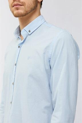 Avva Erkek Açık Mavi Düz Düğmeli Yaka Slim Fit Uzun Kol Vual Gömlek A91s2206 1