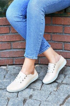 VERAMOD Hakiki Deri Bej Kadın Ayakkabı 0