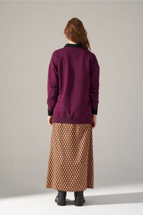 Mizalle Youth Yandan Fermuarlı Sweatshirt (Bordo) 4