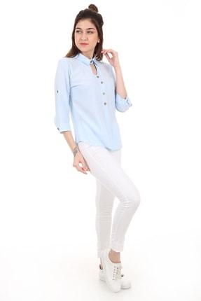 Bigdart 3658 Gömlek Yaka Tahta Düğme Bluz 1
