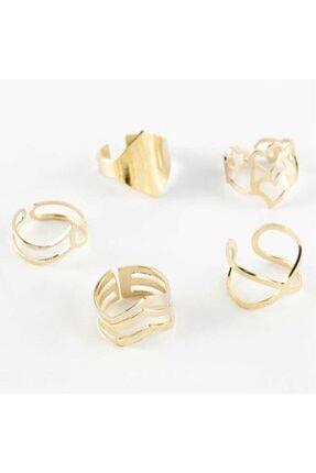 5li Altın Renk Eklem Yüzük Look432292551520