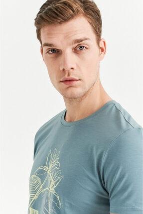 Avva Erkek Nil Yeşili Bisiklet Yaka Baskılı T-shirt A01y1084 3