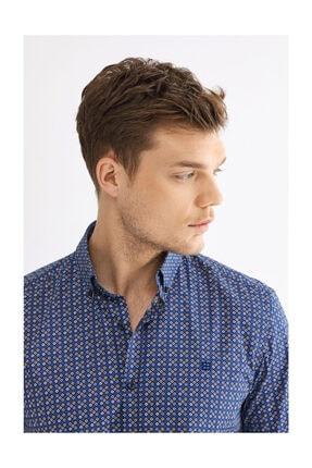 Avva Erkek Lacivert Baskılı Düğmeli Yaka Slim Fit Gömlek A92y2196 1