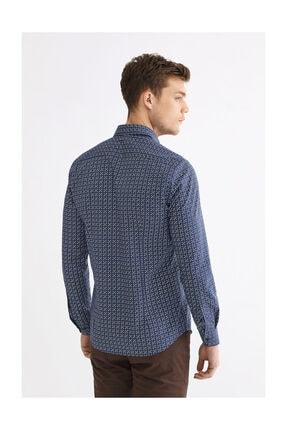 Avva Erkek Lacivert Baskılı Düğmeli Yaka Slim Fit Gömlek A92y2196 2