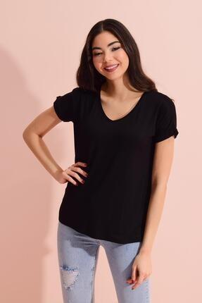 Tena Moda Kadın Siyah V Yaka Geniş Salaş Tişört 1