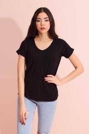 Tena Moda Kadın Siyah V Yaka Geniş Salaş Tişört 2