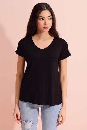 Tena Moda Kadın Siyah V Yaka Geniş Salaş Tişört 3