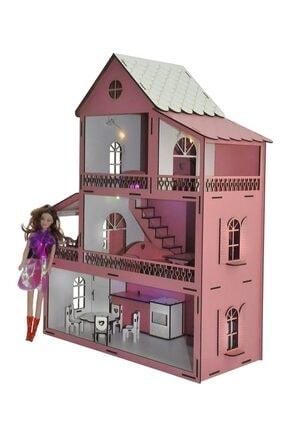 PARSTEK Pembe Barbie Ev Eşyalı 3 Kat Led Işık Ve Bebekli Demonte Full 3