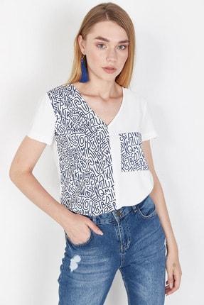 Lafaba Kadın Beyaz Cepli Baskılı Bluz 0