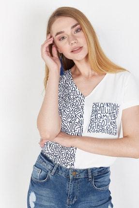 Lafaba Kadın Beyaz Cepli Baskılı Bluz 2