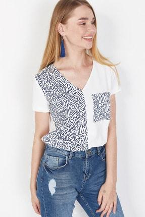 Lafaba Kadın Beyaz Cepli Baskılı Bluz 3