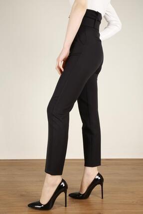 Z GİYİM Kadın Siyah Kemerli Yüksek Bel Kumaş Pantolon 1