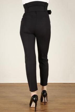 Z GİYİM Kadın Siyah Kemerli Yüksek Bel Kumaş Pantolon 2