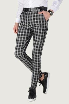 Terapi Men Erkek Ekoseli Slim Fit Keten Pantolon 20k-2200253 Siyah 0