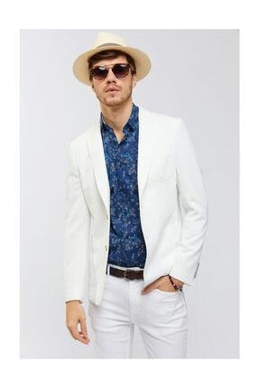 Avva Erkek Beyaz Mono Yaka Armürlü Slim Fit Torba Cepli Ceket A91y4027 0