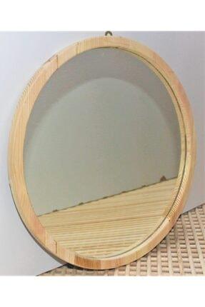 şeker marangoz Ahşap Yuvarlak Dekor Ayna 40 Cm 0