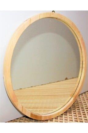 şeker marangoz Ahşap Yuvarlak Dekor Ayna 40 Cm 2