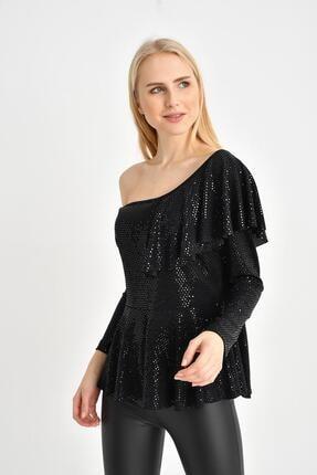 Tena Moda Kadın Siyah Parlak Asimetrik Volanlı Bluz 1