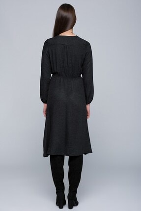 Cotton Mood 7432424 Beli Lastikli Kruvaze Uzun Kol Elbise Sıyah 0