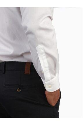 Dufy Beyaz Pamuklu Ipeksi Klasik Erkek Gömlek - Slım Fıt 2