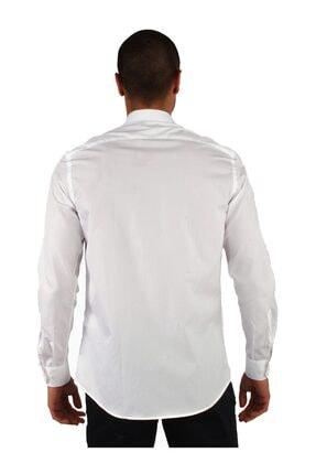 Dufy Beyaz Pamuklu Ipeksi Klasik Erkek Gömlek - Slım Fıt 3
