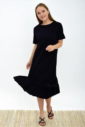 Cotton Mood 9303044 Süprem Eteği Pliseli Kısa Kol Elbise Sıyah 0