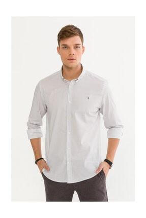 Avva Erkek Beyaz Baskılı Düğmeli Yaka Slim Fit Gömlek A92s2274 0