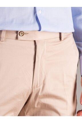 Dufy Bej Düz Pamuklu Saten Erkek Pantolon - Regular Fıt 1