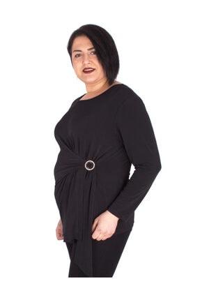 Günay Kadın Bluz Ccarko Mevsimlik O Yaka Sandy Toka Detay-sıyah 1