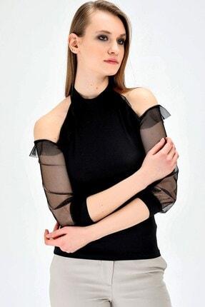 Jument Kadın Ofis Dik Yaka Tül Detaylı Body Bluz -siyah 2