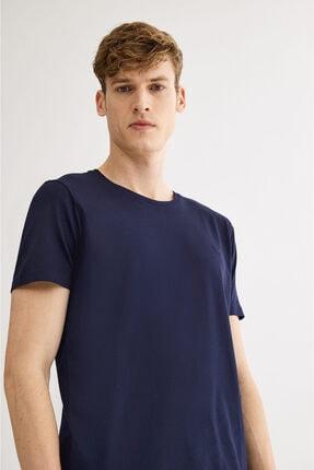 Avva Erkek Lacivert Ultrasoft Bisiklet Yaka Düz Modal T-shirt A01b1171 1
