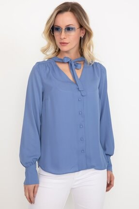 Bağcıklı Şifon Gömlek resmi