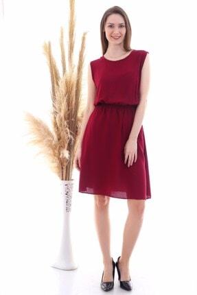 Cotton Mood 9315020 Dok.viskon Desenli Cepli Kolsuz Elbise Bordo 0