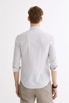 Avva Erkek Haki Baskılı Düğmeli Yaka Slim Fit Gömlek A01y2027 2