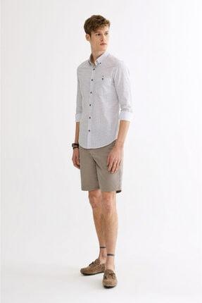 Avva Erkek Haki Baskılı Düğmeli Yaka Slim Fit Gömlek A01y2027 3