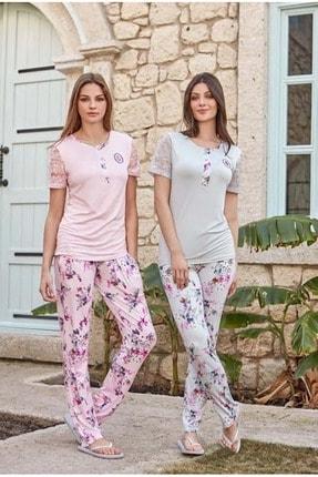 Feyza 3217 Kadın Kısa Kol Pijama Takımı - - Gri - S 0