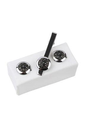 Kravatkolik Gümüş Renk Kol Düğmesi Ve Kravat Iğnesi Set Kd972 0