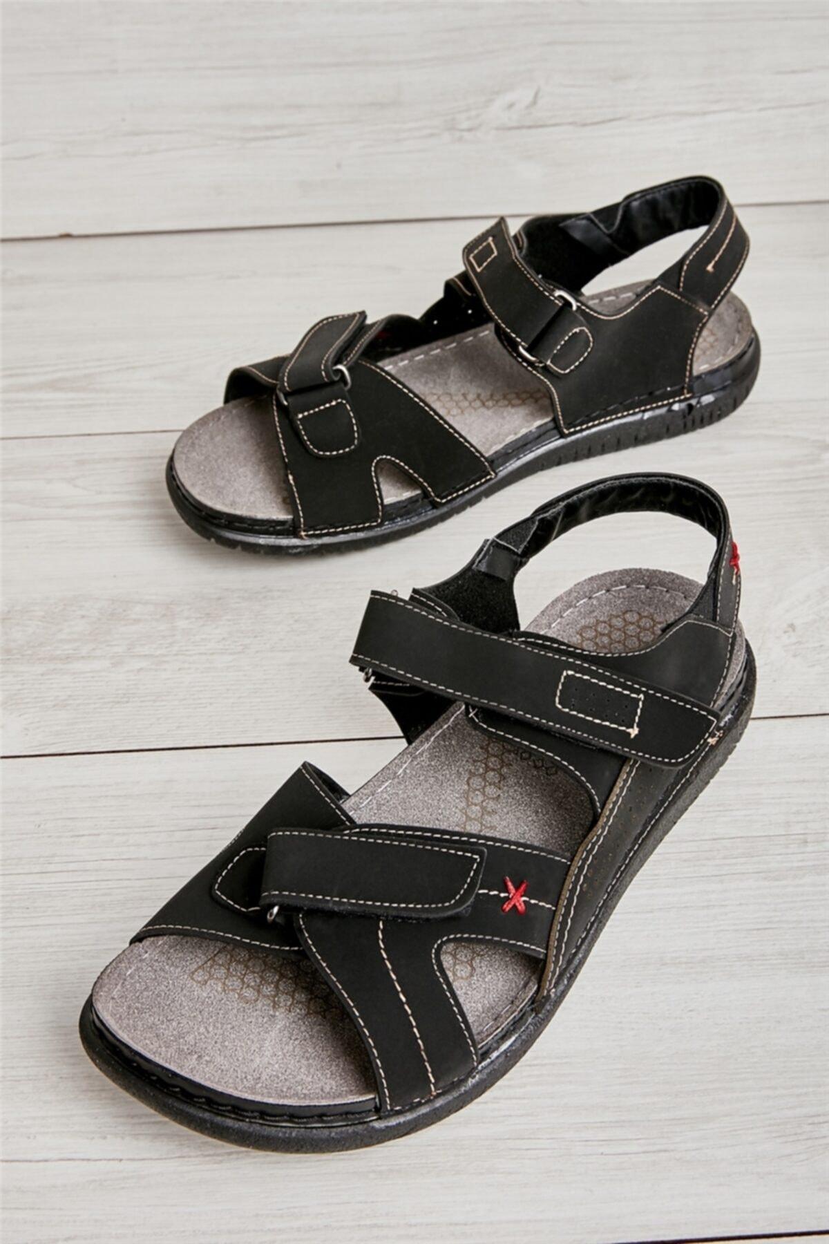 Siyah Nubuk Erkek Sandalet L1785120571