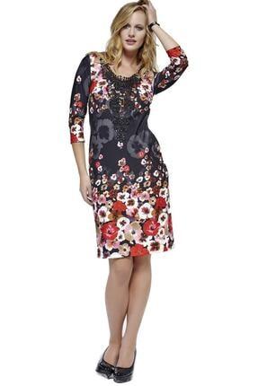 Dodona 2761 Çiçek Desenli Şık Kışlık Triko Şık Kışlık Elbise 0