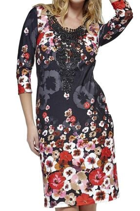 Dodona 2761 Çiçek Desenli Şık Kışlık Triko Şık Kışlık Elbise 1