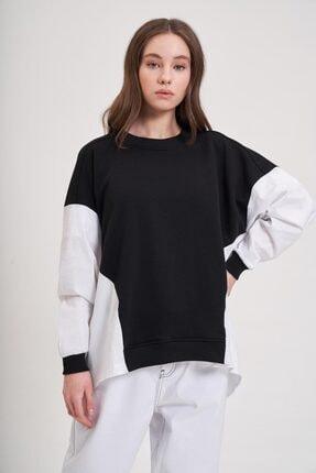 Mizalle Youth Poplin Gömlek Detaylı Sweatshirt (Siyah) 1
