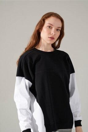 Mizalle Youth Poplin Gömlek Detaylı Sweatshirt (Siyah) 3