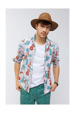 Avva Erkek Lila Baskılı Alttan Britli Yaka Slim Fit Gömlek A91y2122 1