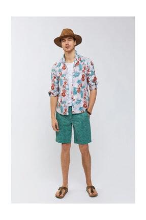 Avva Erkek Lila Baskılı Alttan Britli Yaka Slim Fit Gömlek A91y2122 3
