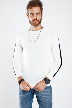 Lafaba Erkek Beyaz Kolları Şeritli Triko 1