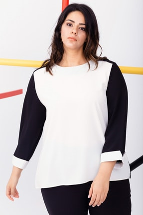 Kadın Beyaz Büyük Beden Renkli Şifon Bluz resmi